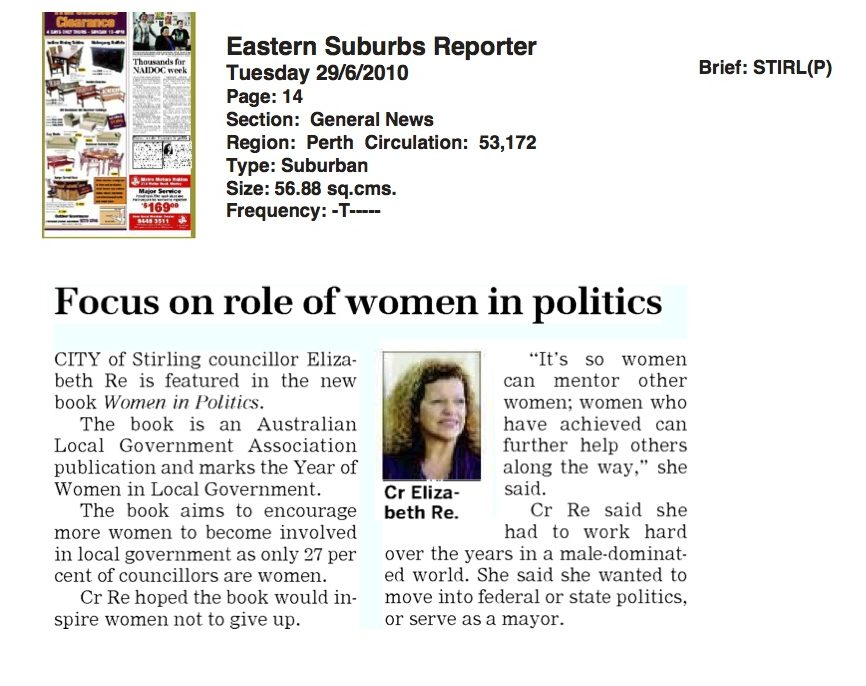 Newspaper Eastern Suburbs Reporter Women in Politics book - 29 June 2010