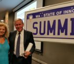 "Elizabeth with Hon. Colin Barnett MLA, one of the panellists at the WA State of Innovation Summit on 8/11/2017 to discuss ""Creating Jobs of the Future"": comments included the need for continuous learning, to be versatile, to develop conceptual thinking skills, to play to our strengths, and to have an international perspective for opportunities"
