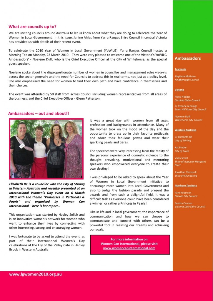 Article from the YoWiLG eNewsletter April 2010