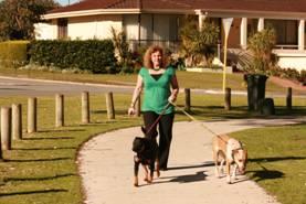 Elizabeth Re walking the dogs